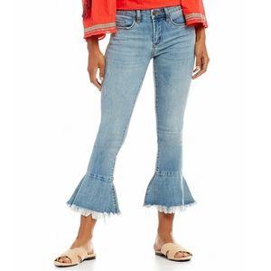 Chelsea & Violet Cropped Raw Hem Flare Jeans